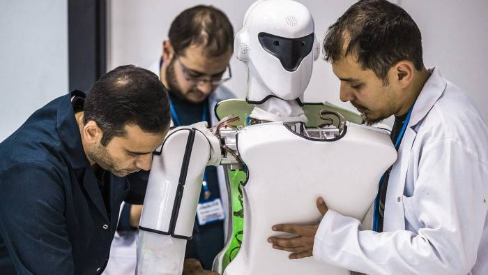 "KONYA, TURKEY - NOVEMBER 16: An inside view of the ""AknRobotics"", Turkey's first factory in the field of producing human-like robots, is seen in Konya province of Turkey on November 16, 2017. AkinRobotics, a humanoid robotics factory, was established by AkinSoft software in central Anatolian province Konya of Turkey on November 04, 2017. The factory has started mass production with a total of 11 thousand square meters area of 2,700 square meters closed. (Photo by Orhan Akkanat/Anadolu Agency/Getty Images)"
