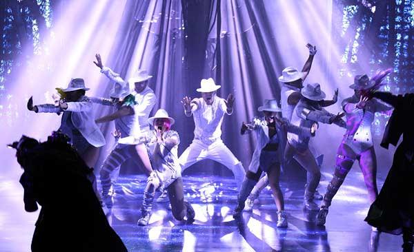 Cirque du Soleil performers at their Michael Jackson show