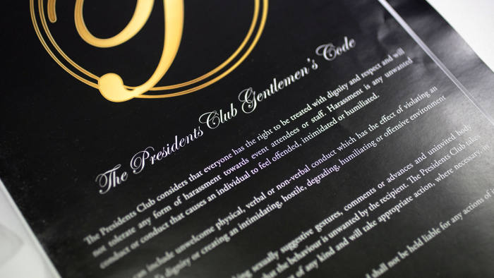 The brochure for the Presidents Club dinner warned the male guests against 'harassment and unwanted conduct'