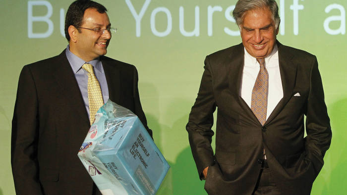 Cyrus Mistry and Ratan Tata at a company launch in 2012