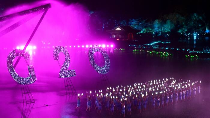 In this Sunday, Sept. 4, 2016 photo released by Xinhua News Agency, Chinese artists perform during an evening gala for the G20 Summit at the West Lake in Hangzhou in eastern China's Zhejiang province. (Huang Zongzhi/Xinhua via AP)
