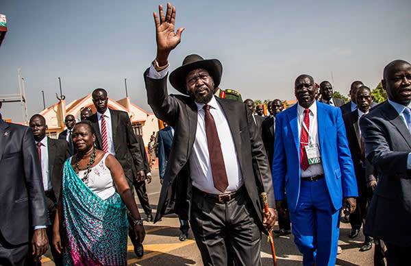South Sudan President Salva Kiir arrives for a political rally in Juba, on March 18, 2015