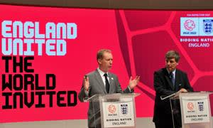File photo dated 26-08-2010 of Chief Executive of England 2018 Bid Andy Anson (left) with Head of the FIFA delegation Harold Mayne-Nicholls during the press conference at Manchester Central Building, Manchester.  PRESS ASSOCIATION Photo. Issue date: Thursday November 13, 2014. Qatar have been cleared to host the 2022 World Cup after FIFA's ethics committee's investigation into bidding but there is severe embarrassment for England over their bid for the 2018 tournament. See PA story SOCCER FIFA. Photo credit should read Martin Rickett/PA Wire.