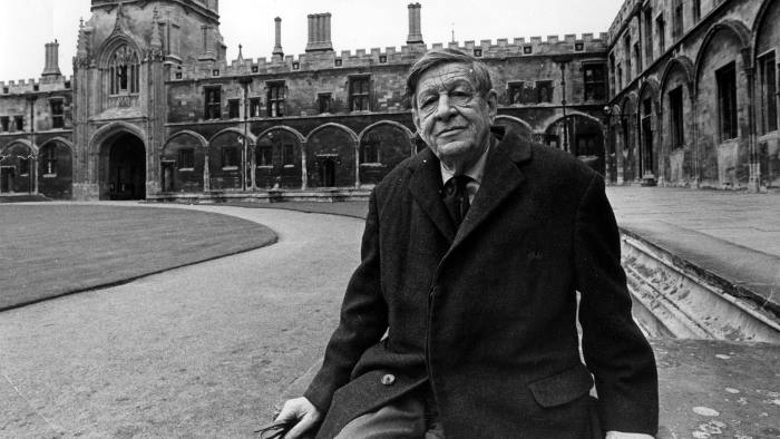 WH Auden in the Tom Quadrangle at Christ Church College, Oxford