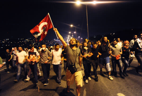 Protesters march towards Taksim Square in June