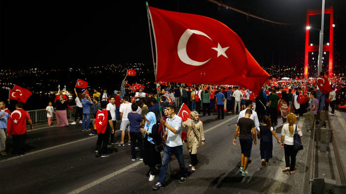 Demonstrators in Istanbul after July's attempted coup