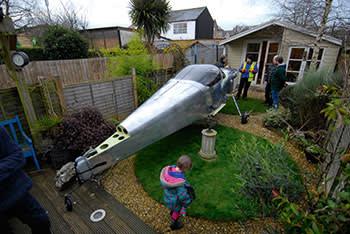 The fuselage in Goodwin's garden