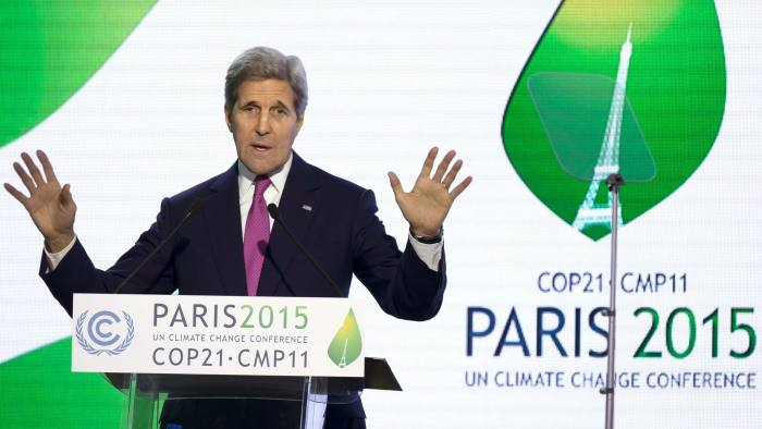 US Secretary of State John Kerry gives a speech during a news conference at the COP21 Climate Conference in Le Bourget, north of Paris, on December 9, 2015. The 21st Conference of the Parties (COP21) is held in Paris from November 30 to December 11 aimed at reaching an international agreement to limit greenhouse gas emissions and curtail climate change. / AFP / POOL / IAN LANGSDONIAN LANGSDON/AFP/Getty Images