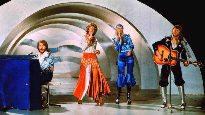 Swedish pop group Abba performing the song Waterloo during the Eurovision song contest in 1974