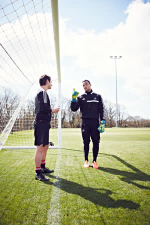 Michel Vorm gives Mark Bailey some final tips