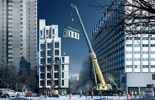 Artist's image of construction work on Carmel Place, New York