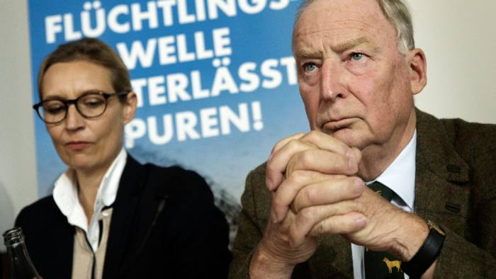 epa06212181 Alice Weidel (L) and Alexander Gauland (R), co-top candidates for the general elections of the German right-wing populist party Alternative for Germany (AfD), attend a press conference in Berlin, Germany, 18 September 2017. The AfD is supposed to talk during the press conference about 'islamic immigration' and criminality. General elections are scheduled to be held on 24 September 2017. EPA/CARSTEN KOALL
