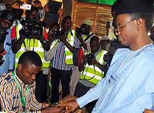 Nasir el-Rufai at a polling station to cast his votes in April 2015