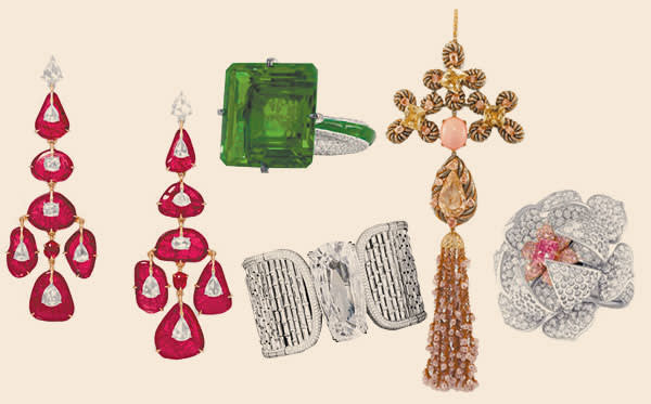 pieces from the G London collection (left to right) include earrings set with rubies and diamonds; emerald and diamond ring; diamond and titanium cuff; conch pearl and diamond tassel pendant and diamond and pink diamond ring