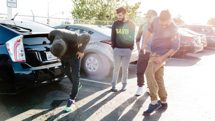 Iraqi drivers at the TNC airport waiting lot for Uber and Lyft drivers in San Francisco, Calif., Sunday October 1, 2017.