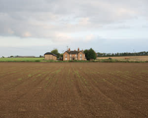 View across fields from the former railway line