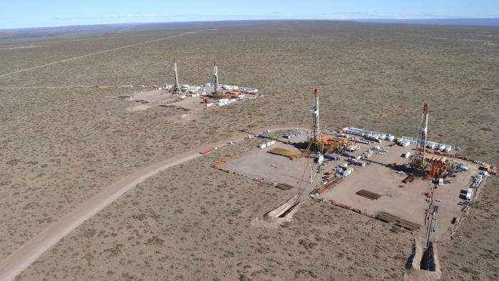 An aerial view is seen of a shale oil drilling rig in the Patagonian province of Neuquen