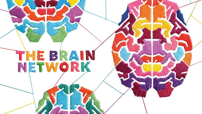Stitched illustrations depicting human brains by Evelin Kasikov