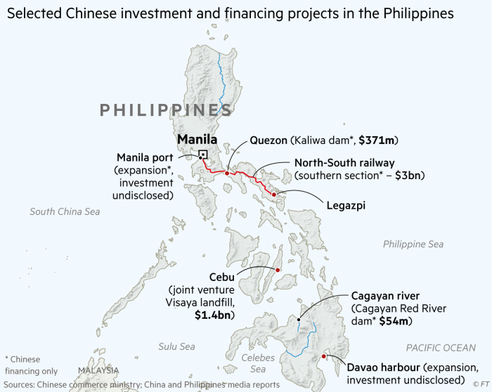 Chinese investment and financing projects in the Philippines map