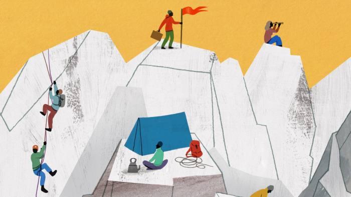 Illustration of employees climbing mountain