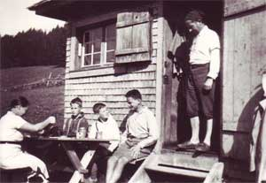 Martin Heidegger and family at his hut in Germany in the 1930s. He found the seclusion of the forest conducive to meditation