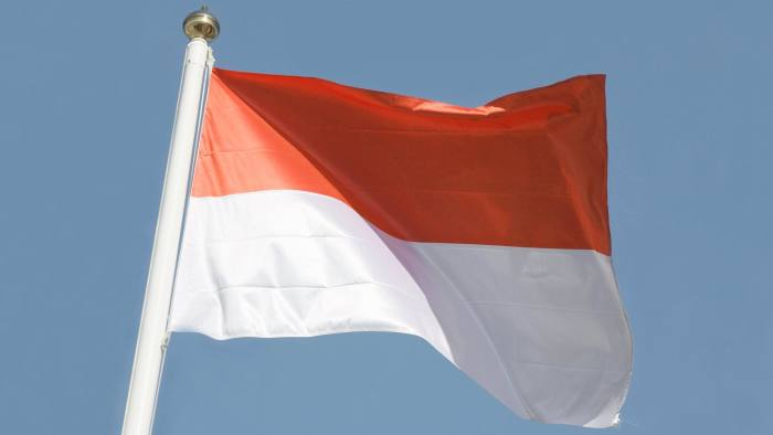 The national flag of Indonesia.