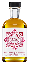 A bottle of Ren Morroccan rose bath oil