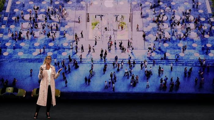 CUPERTINO, CA - SEPTEMBER 12: Apple senior vice president of retail Angela Ahrendts speaks during an Apple special event at the Steve Jobs Theatre on the Apple Park campus on September 12, 2017 in Cupertino, California. Apple is holding their first special event at the new Apple Park campus where they are expected to unveil a new iPhone. (Photo by Justin Sullivan/Getty Images)