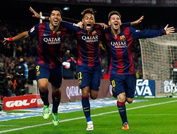 From left: Suárez, Neymar and Messi after scoring against Atletico Madrid on January 11