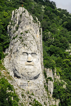 Decebalus Rex cliff carving in the Iron Gates gorge on the Danube River