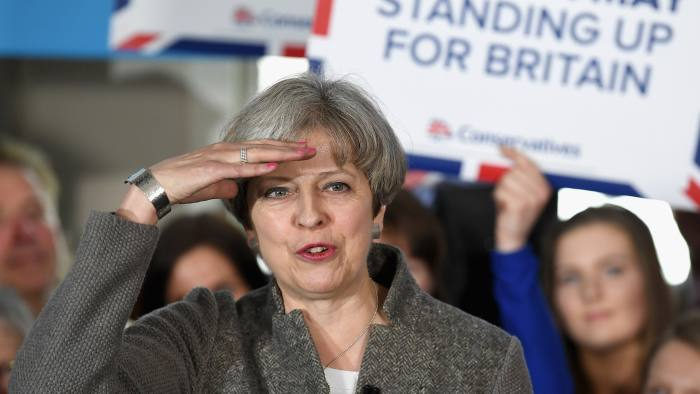 BANCHORY, SCOTLAND - APRIL 29: Theresa May speaks at an election campaign rally on April 29, 2017 in Banchory, Scotland. The Prime Minister is campaigning in Scotland with the message that a vote for the Conservatives would strengthen the economy and the UK's hand in Brexit negotiations. The UK goes to the polls on June 8. (Photo by Jeff J Mitchell/Getty Images)