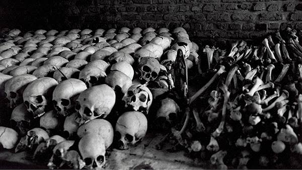 A row of human skulls from the genocide in Rwanda