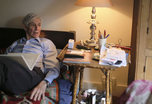 Lewis Wolpert in his bedroom, where he does most of his writing