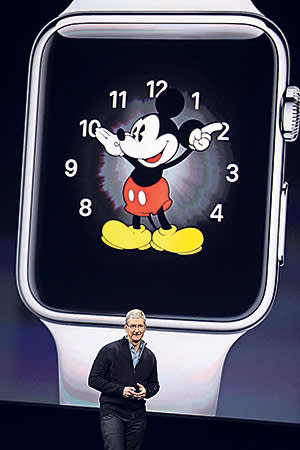 Apple CEO Tim Cook talks about the new Apple Watch during an Apple event on Monday, March 9, 2015, in San Francisco