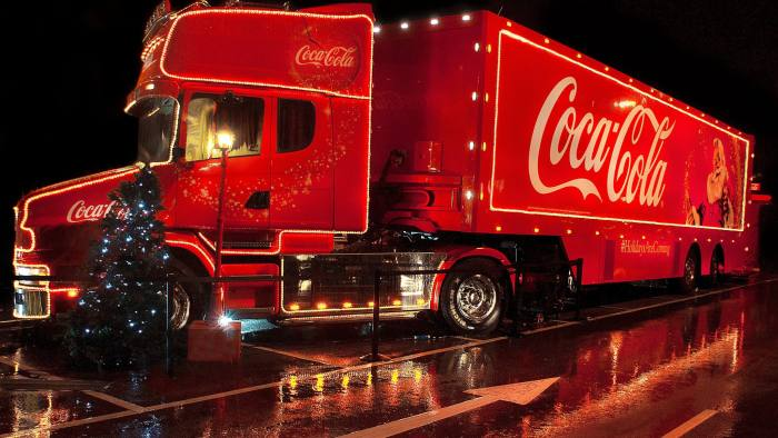 A Coca Cola lorry comes into town to light up the local supermarket car park in December 2012.