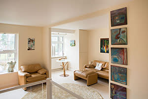 Stephanie Shirley's upstairs living room, with views over the Thames