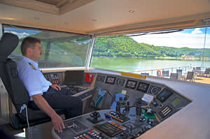 Captain Horváth at the helm of the newly launched river cruiser Viking Aegir