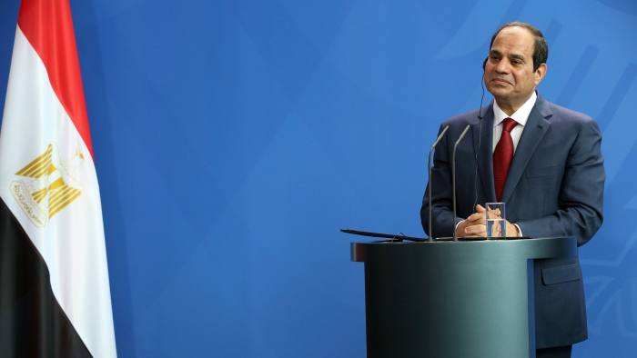 BERLIN, GERMANY - JUNE 03: Egyptian President Abdel Fattah el-Sisi speaks during a news conference with German Chancellor Angela Merkel (unseen) on June 3, 2015 in Berlin, Germany. The meeting between the two leaders was intended to increase economic and security cooperation between their two countries, which shared 4.4 billion euros ($4.8 billion) in bilateral trade in 2014. The two disagreed over human rights issues such as capital punishment. (Photo by Adam Berry/Getty Images)
