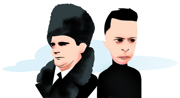 An illustration of Guy Burgess and Salah Abdeslam