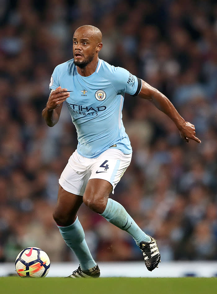 File photo dated 21-08-2017 of Manchester City's Vincent Kompany. PRESS ASSOCIATION Photo. Issue date: Monday December 18, 2017. Captain Vincent Kompany will again be doubtful for Manchester City when they meet Leicester in the Carabao Cup quarter-finals. See PA story SOCCER Man City Team. Photo credit should read Nick Potts/PA Wire