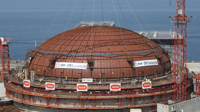 A photo taken on July 16, 2013 in Flaman...A photo taken on July 16, 2013 in Flamanville, northwestern France, shows a dome after its installation on a reactor's building on the construction site of the third European generation Pressurised Reactor (EPR). The nuclear reactor will be put into service at the end of the year 2016, said EDF director of the future nuclear station Didier Ohayon on June 20, 2013. AFP PHOTO / CHARLY TRIBALLEAUCHARLY TRIBALLEAU/AFP/Getty Images