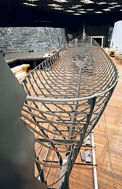 Steel frame to hold surviving timbers of Viking great ship Roskilde 6, discovered in 1997
