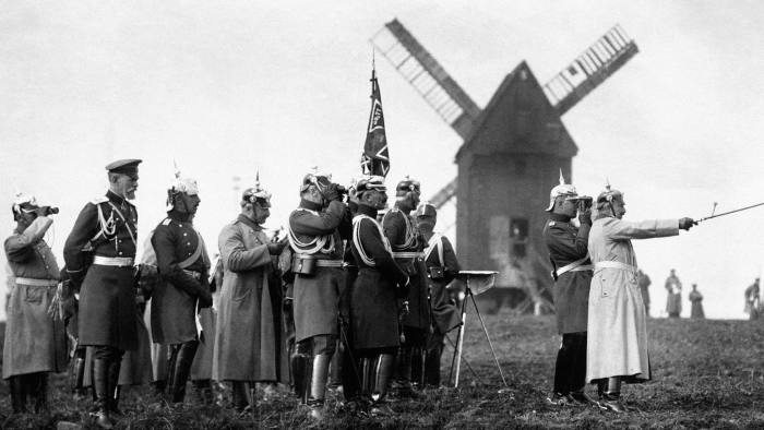 Kaiser Wilhelm II (far right) and German officers observe army manoeuvres in 1914 before the outbreak of the first world war