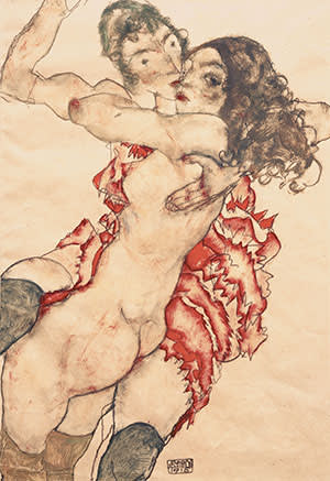 'Two Girls Embracing' by Egon Schiele