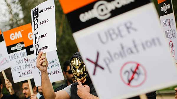 Uber drivers protesting in London