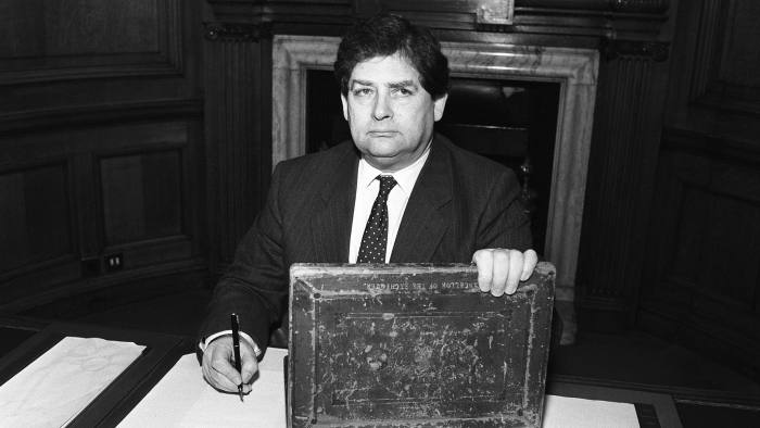 Chancellor Nigel Lawson at work with his budget box on March 8, 1989.