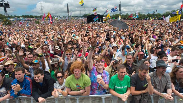 Crowds gather to watch U.S band De La Soul perform at Glastonbury music festival, England, Friday, June 27, 2014. Thousands of music fans have arrived for the festival to see headliners Arcade Fire, Metallica and Kasabian. (Photo by Jonathan Short/Invision/AP)