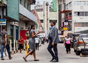 Office workers on Lagos Island