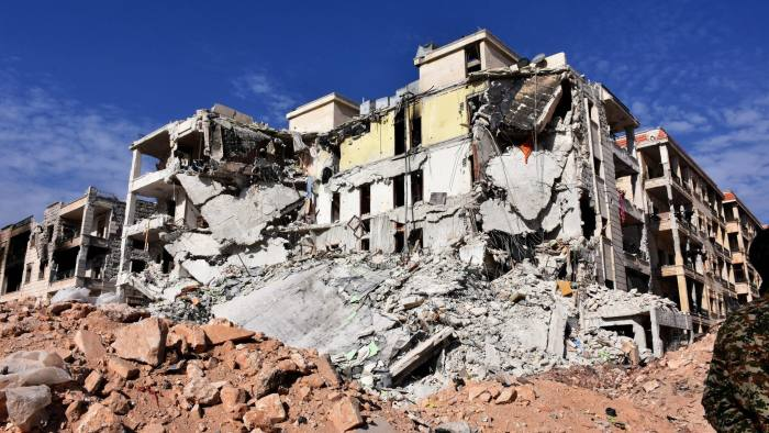 epa05628172 Damaged buildings and rubble are seen in Aleppo's western villages of al-Assad district, Aleppo, Syria, 12 November 2016. According to media the Syrian regime forces in cooperation with allied forces had retook the villages of al-Assad district in the west Aleppo from rebels. EPA/STR