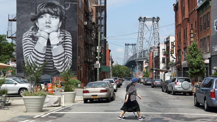 The intersection of Bedford Avenue and Broadway in Williamsburg, Brooklyn